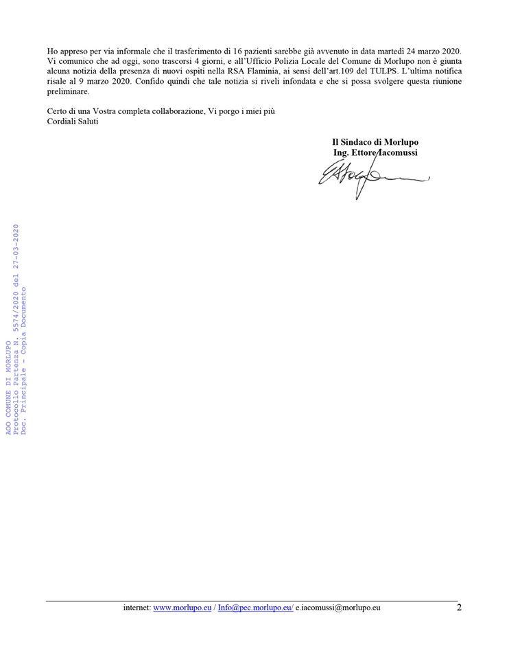 Lettera del sindaco di Morlupo